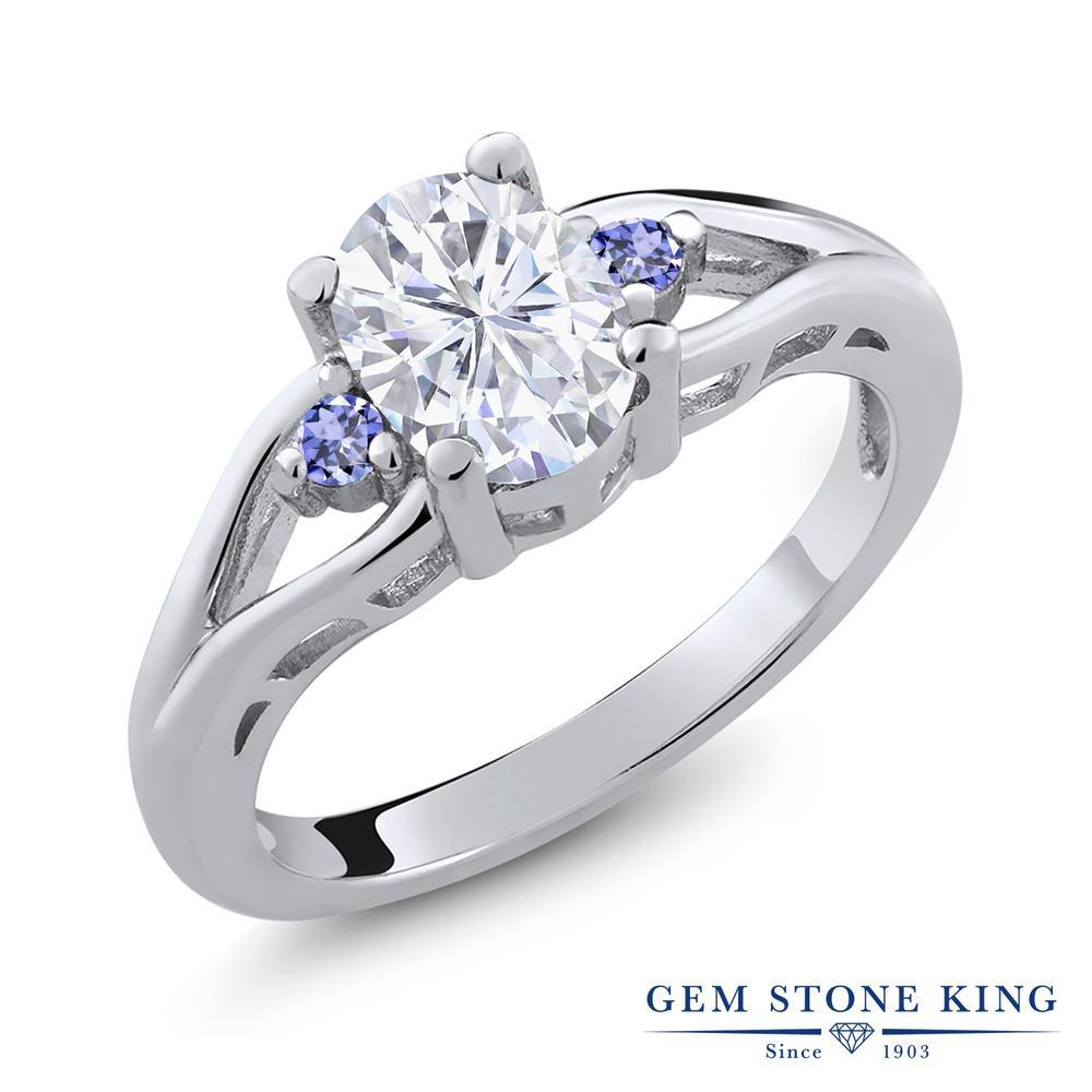 Gem Stone King 1.58カラット Forever Brilliant モアッサナイト Charles & Colvard 天然石 タンザナイト シルバー925 指輪 リング レディース 大粒 シンプル 誕生日プレゼント