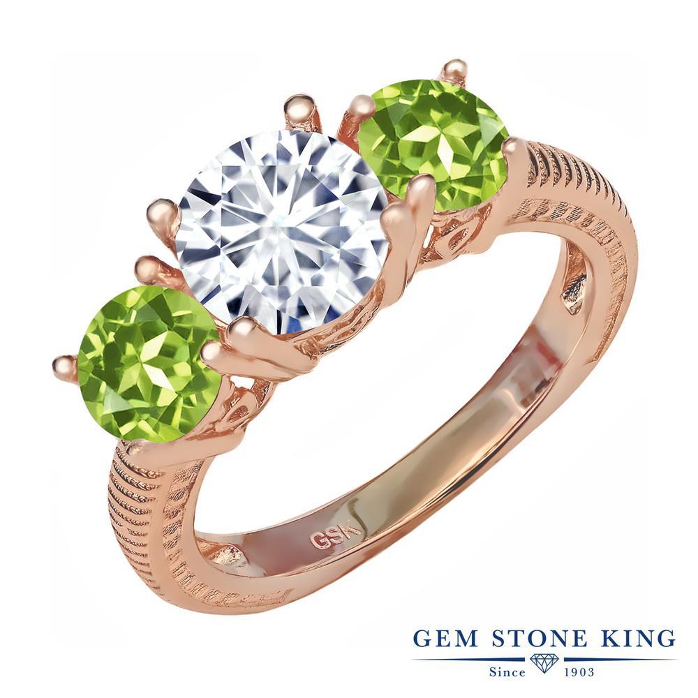 Gem Stone King 2.3カラット Forever Brilliant モアッサナイト Charles & Colvard 天然石ペリドット シルバー 925 ローズゴールドコーティング 指輪 リング レディース 大粒 シンプル 誕生日プレゼント