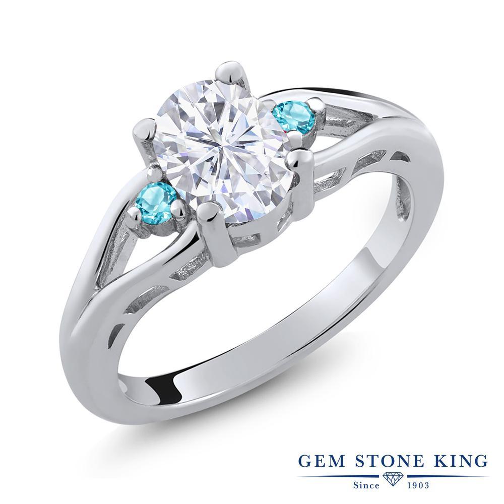 Gem Stone King 1.6カラット Forever Brilliant モアッサナイト Charles & Colvard シミュレイテッドトパーズ(スカイブルー) シルバー925 指輪 リング レディース 大粒 シンプル 誕生日プレゼント