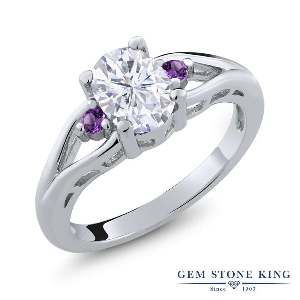 Gem Stone King 1.58カラット Forever Brilliant モアッサナイト Charles & Colvard 天然アメジスト シルバー925 指輪 リング レディース 大粒 シンプル 誕生日プレゼント