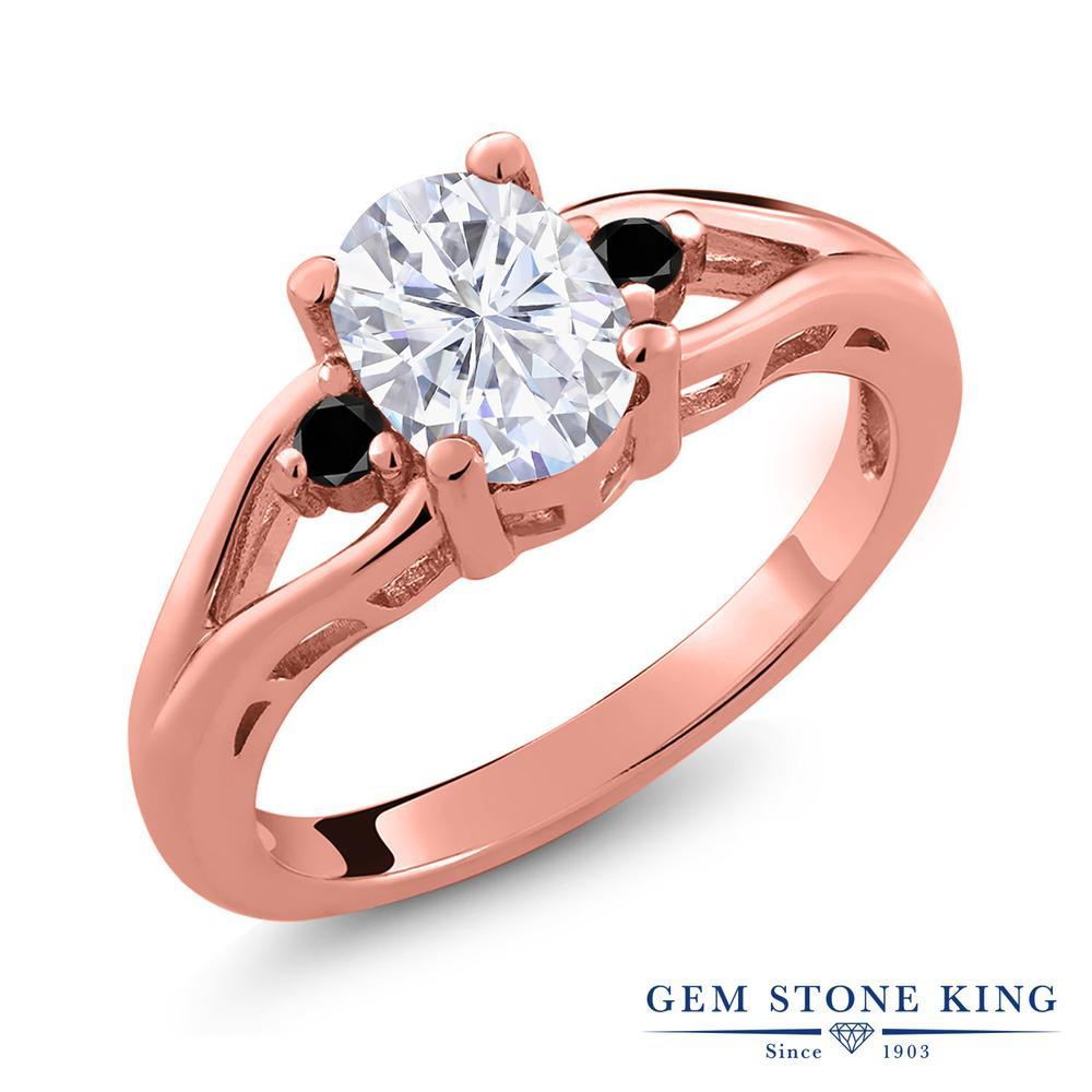 Gem Stone King 1.57カラット Forever Brilliant モアッサナイト Charles & Colvard 天然ブラックダイヤモンド シルバー925 ピンクゴールドコーティング 指輪 リング レディース モアサナイト 大粒 シンプル スリーストーン 金属アレルギー対応 誕生日プレゼント