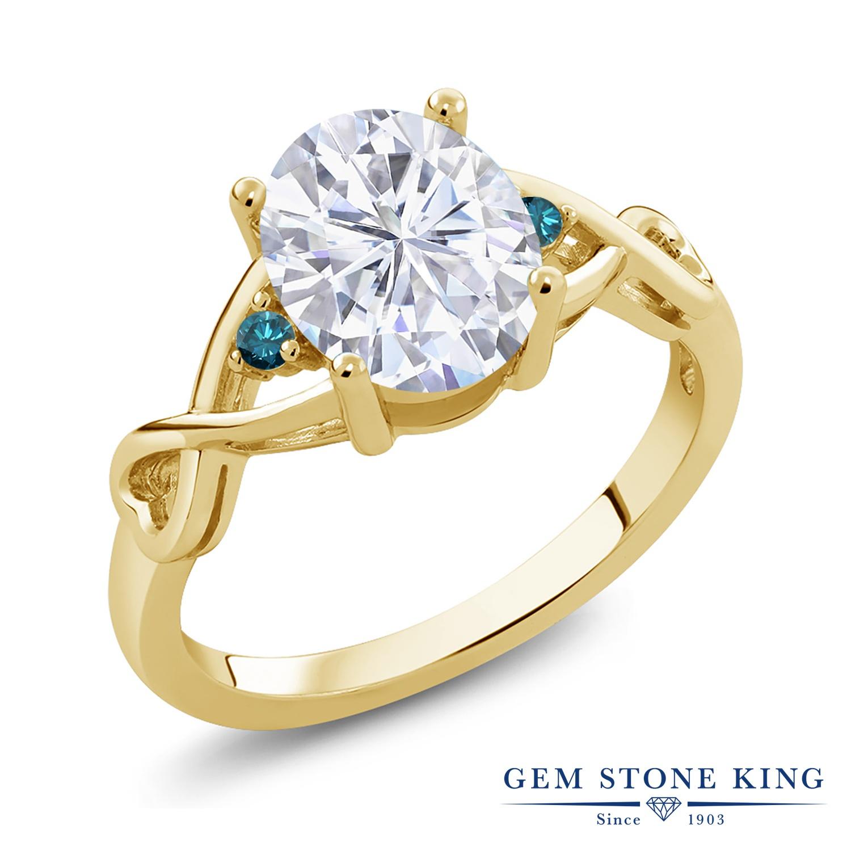 Gem Stone King 2.16カラット Forever Forever Brilliant モアッサナイト Charles 大粒 & Stone Colvard 天然 ブルーダイヤモンド シルバー925 イエローゴールドコーティング 指輪 リング レディース モアサナイト 大粒 シンプル ソリティア 金属アレルギー対応 誕生日プレゼント, LEDのマゴイチヤ:93fd97be --- ww.thecollagist.com