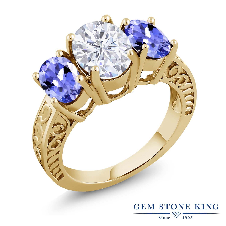 Gem Stone King 3.6カラット Forever Brilliant モアッサナイト Charles & Colvard 天然石 タンザナイト シルバー925 イエローゴールドコーティング 指輪 リング レディース モアサナイト 大粒 シンプル スリーストーン 金属アレルギー対応 誕生日プレゼント