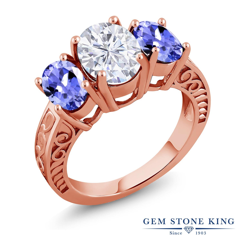 Gem Stone King 3.6カラット Forever Brilliant モアッサナイト Charles & Colvard 天然石 タンザナイト シルバー925 ピンクゴールドコーティング 指輪 リング レディース モアサナイト 大粒 シンプル スリーストーン 金属アレルギー対応 誕生日プレゼント