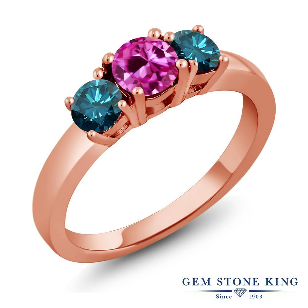 【10%OFF】 1.09カラット 合成ピンクサファイア 指輪 レディース リング 天然 ブルーダイヤモンド ピンクゴールド 加工 シルバー925 ブランド おしゃれ 3連 シンプル スリーストーン プレゼント 女性 彼女 妻 誕生日