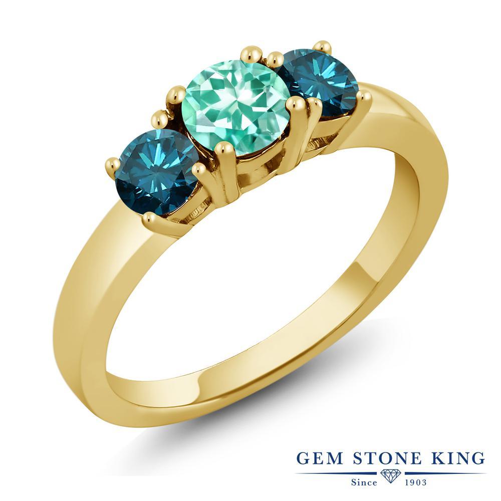 【10%OFF】 1.04カラット 天然 アパタイト ブルーダイヤモンド 指輪 リング レディース シルバー925 イエローゴールド 加工 小粒 シンプル スリーストーン 天然石 プレゼント 女性 彼女 妻 誕生日