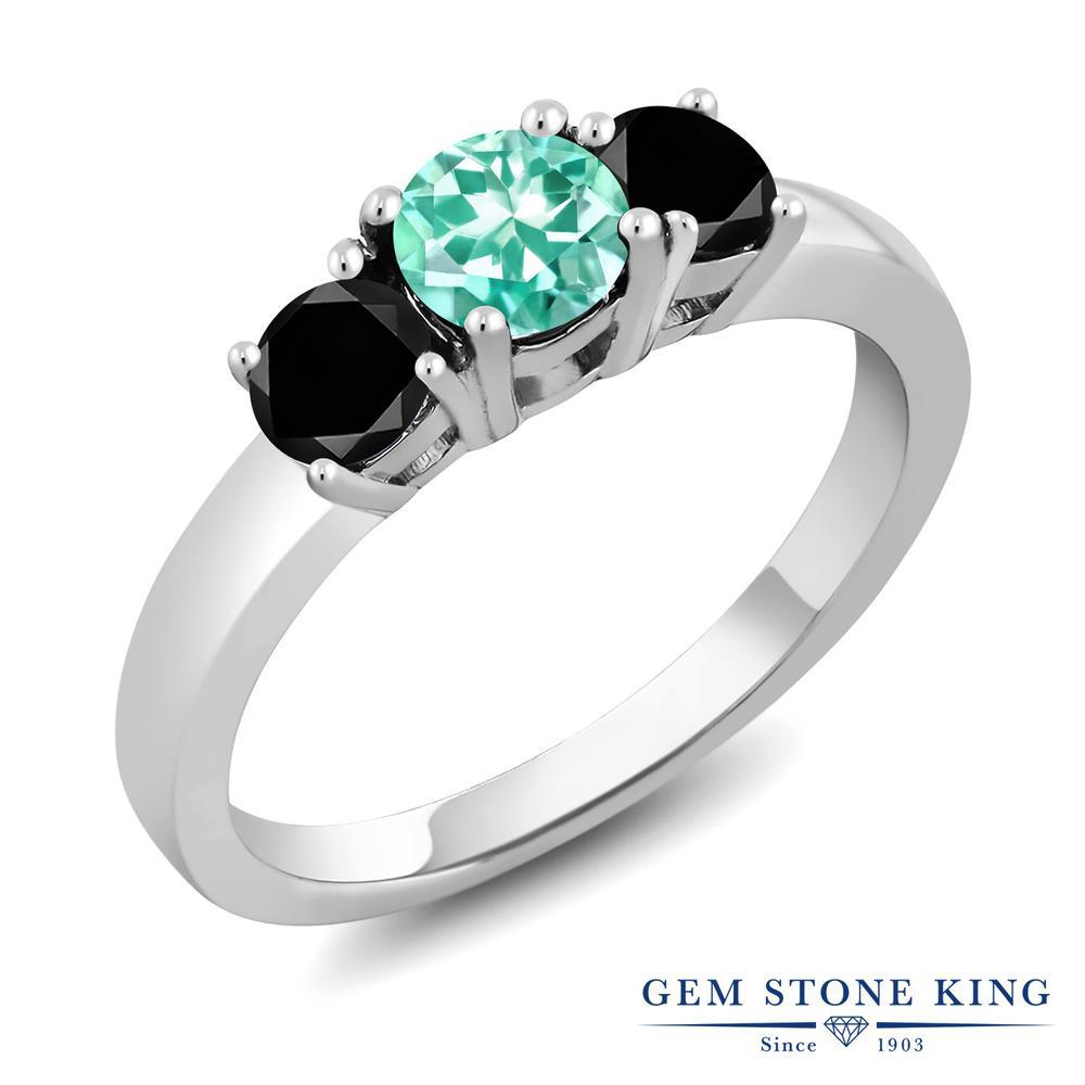 Gem Stone King 1.04カラット 天然 アパタイト 天然ブラックダイヤモンド シルバー925 指輪 リング レディース 小粒 シンプル スリーストーン 天然石 金属アレルギー対応 誕生日プレゼント