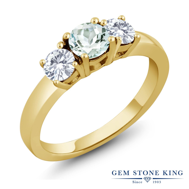Gem Stone King 0.96カラット 天然 アクアマリン モアサナイト Charles & Colvard シルバー925 イエローゴールドコーティング 指輪 リング レディース 小粒 シンプル スリーストーン 天然石 3月 誕生石 金属アレルギー対応 誕生日プレゼント