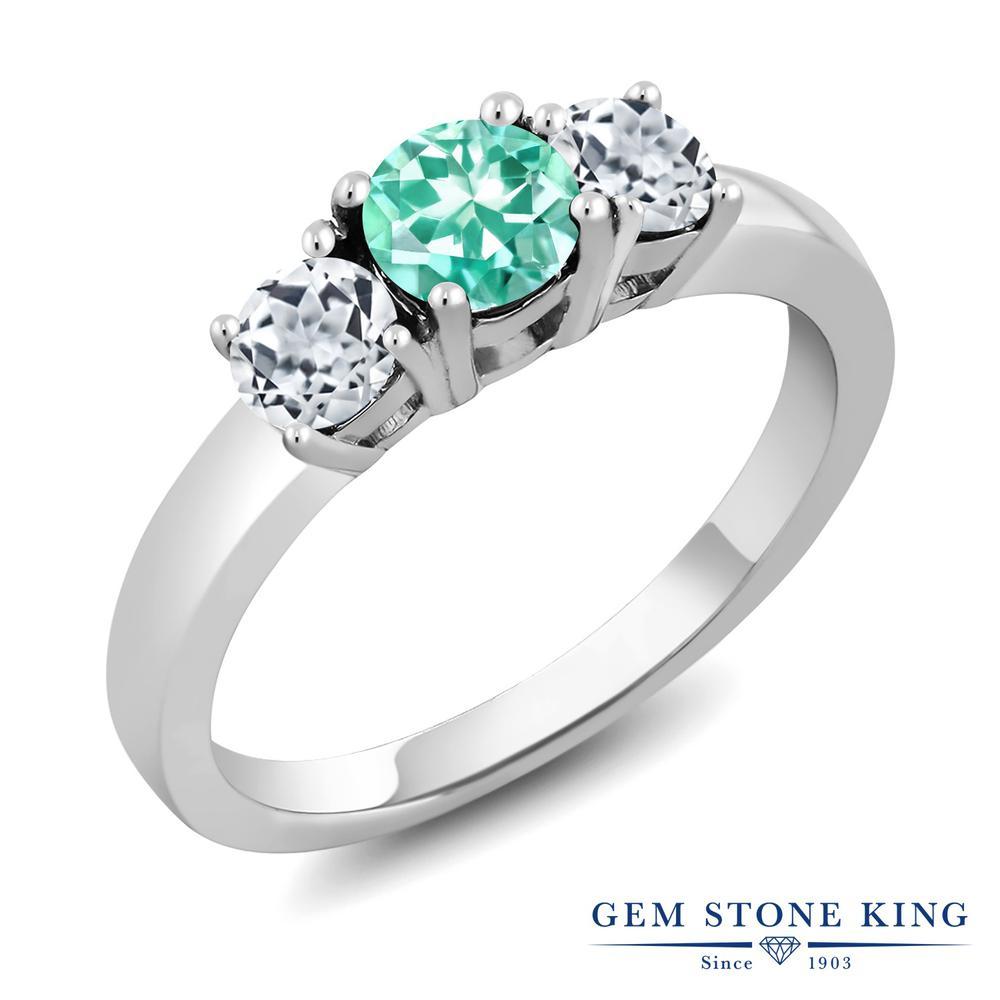 Gem Stone King 1.16カラット 天然アパタイト 天然トパーズ(無色透明) シルバー925 指輪 リング レディース 小粒 シンプル スリーストーン 天然石 金属アレルギー対応 誕生日プレゼント