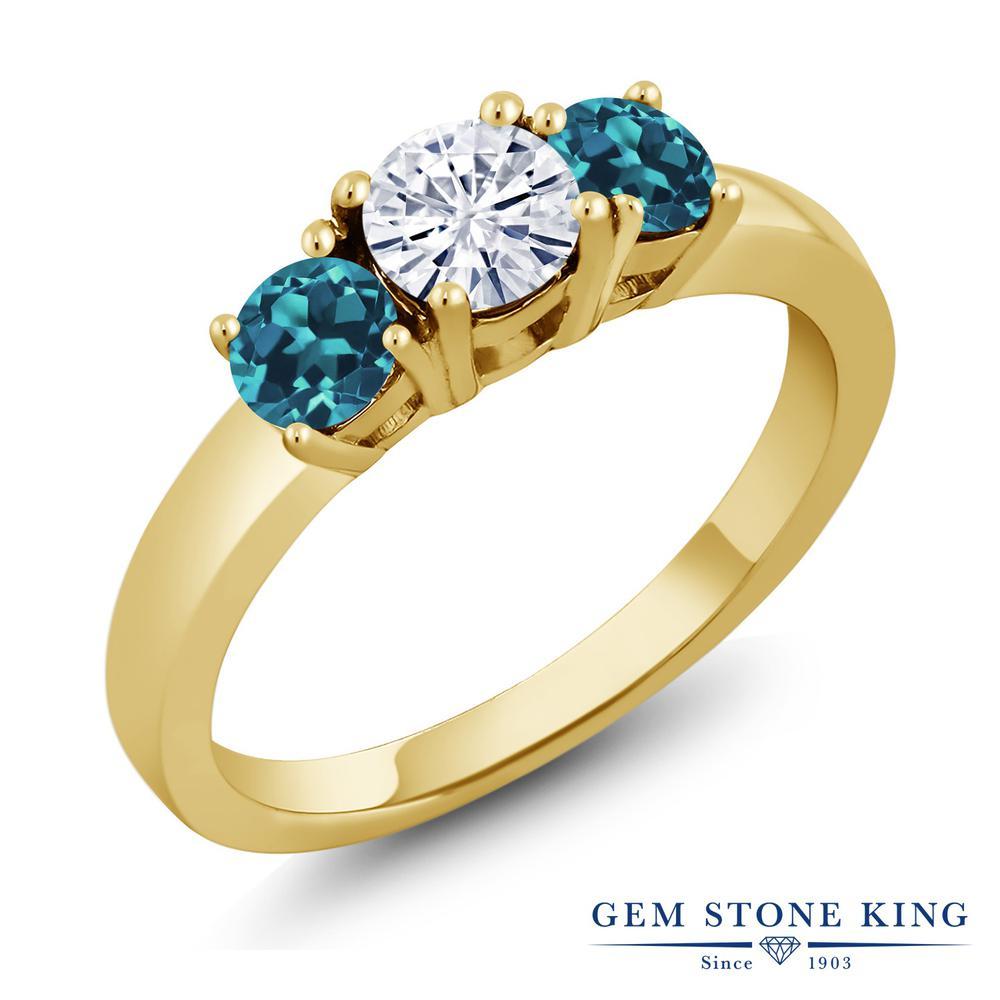 Gem Stone King 1.16カラット Forever Brilliant モアッサナイト Charles & Colvard 天然トパーズ(ロンドンブルー) シルバー 925 イエローゴールドコーティング 指輪 リング レディース 小粒 シンプル 誕生日プレゼント