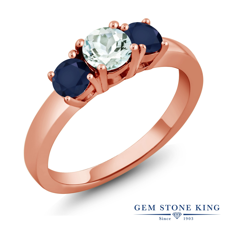 Gem Stone King 1.2カラット 天然 アクアマリン 天然 サファイア シルバー925 ピンクゴールドコーティング 指輪 リング レディース 小粒 シンプル スリーストーン 天然石 3月 誕生石 金属アレルギー対応 誕生日プレゼント