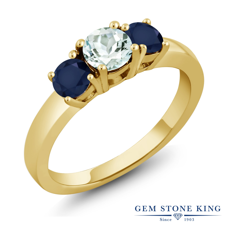 Gem Stone King 1.2カラット 天然 アクアマリン 天然 サファイア シルバー925 イエローゴールドコーティング 指輪 リング レディース 小粒 シンプル スリーストーン 天然石 3月 誕生石 金属アレルギー対応 誕生日プレゼント