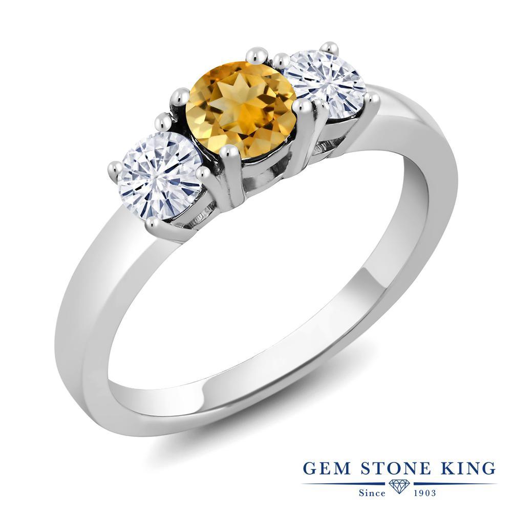 Gem Stone King 1.19カラット 天然 シトリン モアサナイト Charles & Colvard シルバー925 指輪 リング レディース シンプル スリーストーン 天然石 11月 誕生石 金属アレルギー対応 誕生日プレゼント