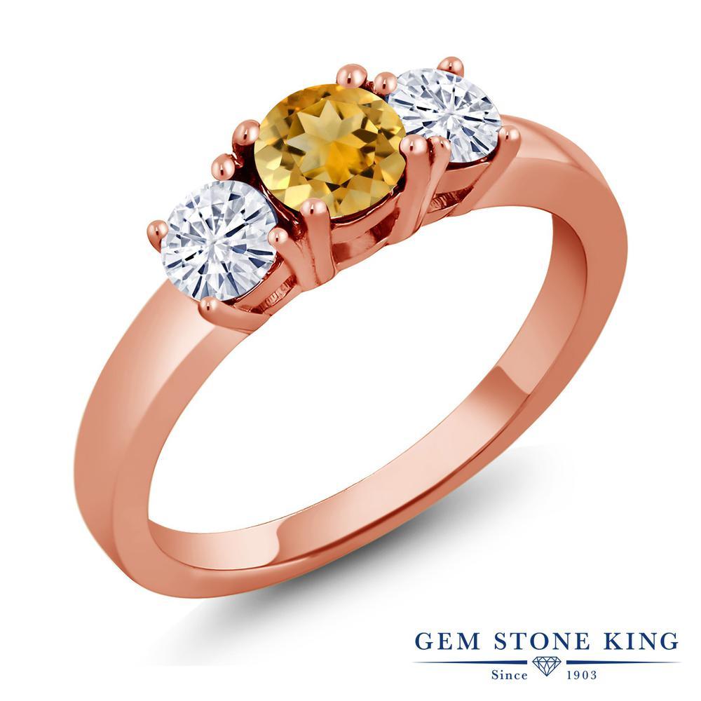 Gem Stone King 1.19カラット 天然 シトリン モアサナイト Charles & Colvard シルバー925 ピンクゴールドコーティング 指輪 リング レディース シンプル スリーストーン 天然石 11月 誕生石 金属アレルギー対応 誕生日プレゼント