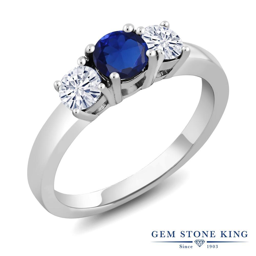 Gem Stone King 1.06カラット シミュレイテッド サファイア モアサナイト Charles & Colvard シルバー925 指輪 リング レディース シンプル スリーストーン 金属アレルギー対応 誕生日プレゼント