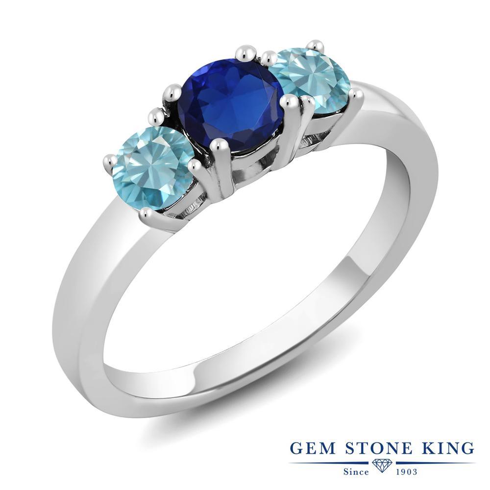 Gem Stone King 1.6カラット シミュレイテッドサファイア 天然石 ジルコン(ブルー) シルバー925 指輪 リング レディース シンプル スリーストーン 金属アレルギー対応 誕生日プレゼント