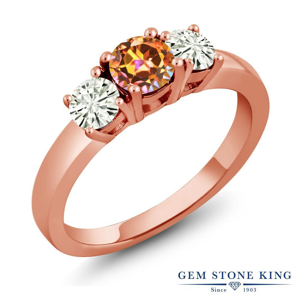 Gem Stone King 1.46カラット 天然石 エクスタシーミスティックトパーズ モアサナイト Charles & Colvard シルバー925 ピンクゴールドコーティング 指輪 リング レディース 大粒 シンプル スリーストーン 金属アレルギー対応 誕生日プレゼント