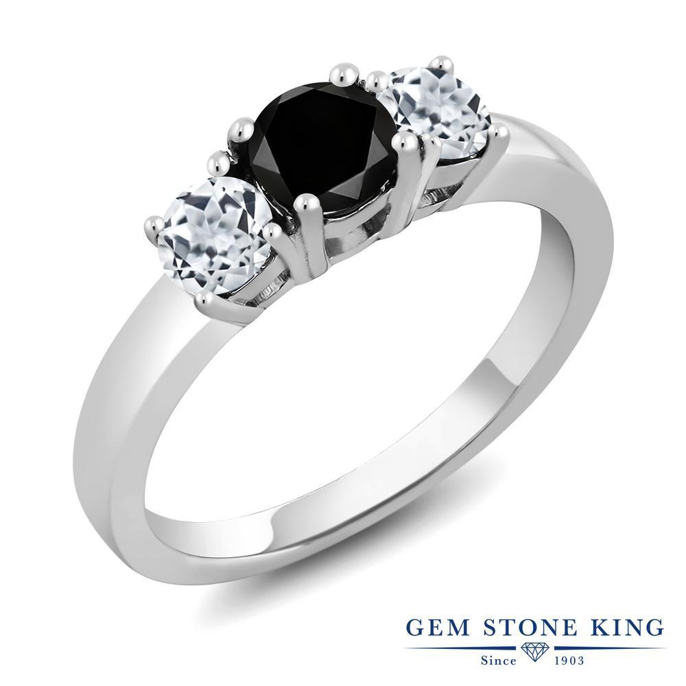 Gem Stone King 1.21カラット 天然ブラックダイヤモンド 天然 トパーズ (無色透明) シルバー925 指輪 リング レディース ブラック ダイヤ シンプル スリーストーン 天然石 4月 誕生石 金属アレルギー対応 誕生日プレゼント