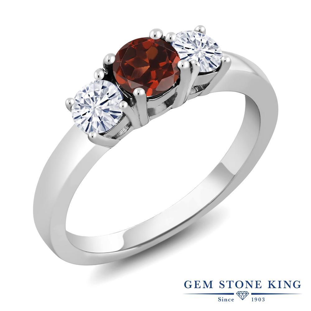 Gem Stone King 1.46カラット 天然 ガーネット モアサナイト Charles & Colvard シルバー925 指輪 リング レディース 大粒 シンプル スリーストーン 天然石 1月 誕生石 金属アレルギー対応 誕生日プレゼント