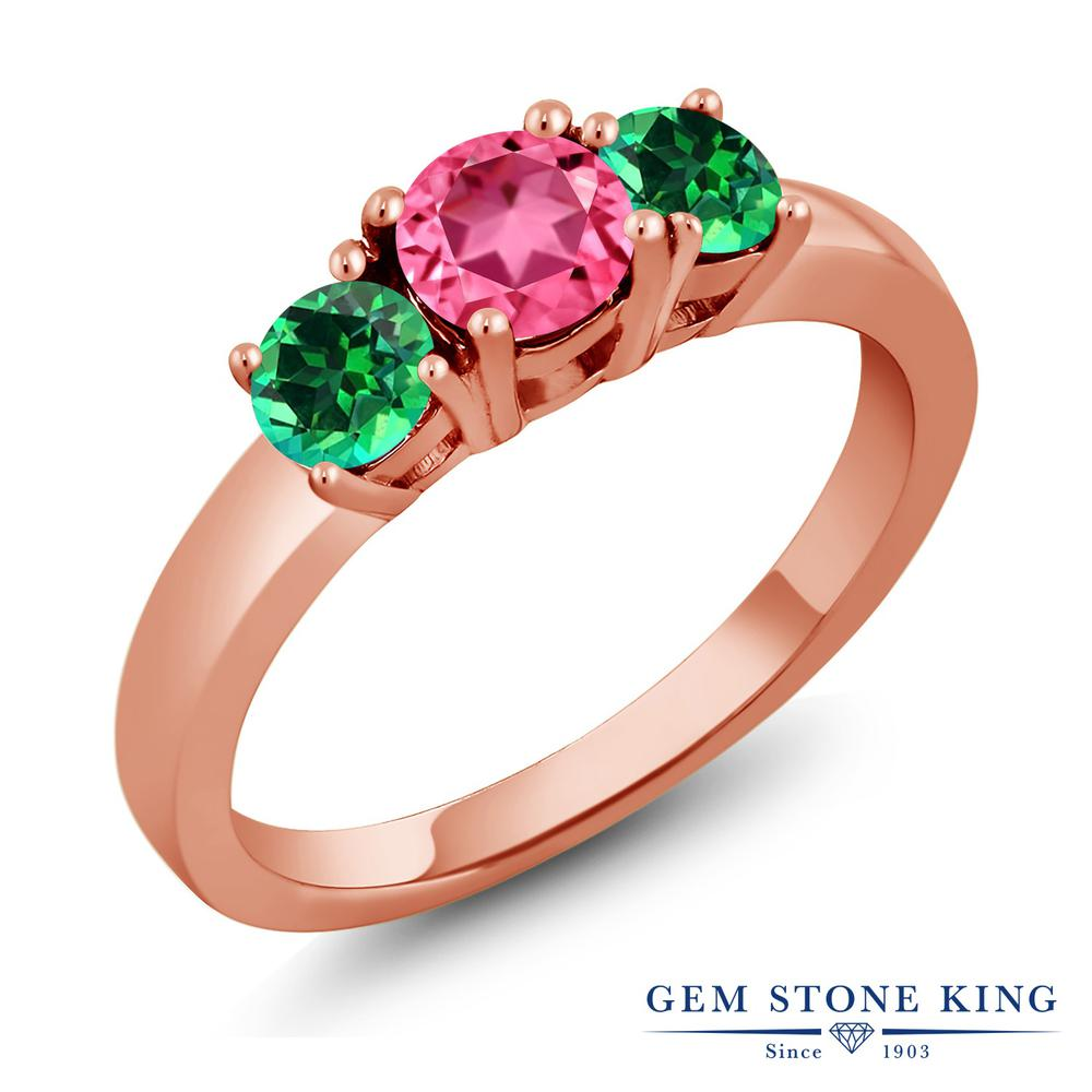 Gem Stone King 1.25カラット 天然石ピンクトパーズ(スワロフスキー 天然石シリーズ) 天然石トパーズ レインフォレスト(スワロフスキー 天然石シリーズ) シルバー 925 ローズゴールドコーティング 指輪 リング レディース シンプル 天然石 誕生日プレゼント