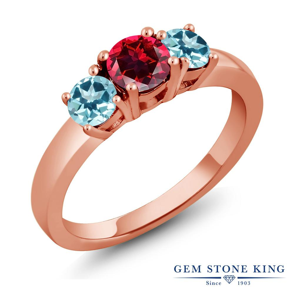 Gem Stone King 1.25カラット 天然石レッドトパーズ(スワロフスキー 天然石シリーズ) 天然石トパーズ アイスブルー(スワロフスキー 天然石シリーズ) シルバー 925 ローズゴールドコーティング 指輪 リング レディース シンプル 天然石 誕生日プレゼント