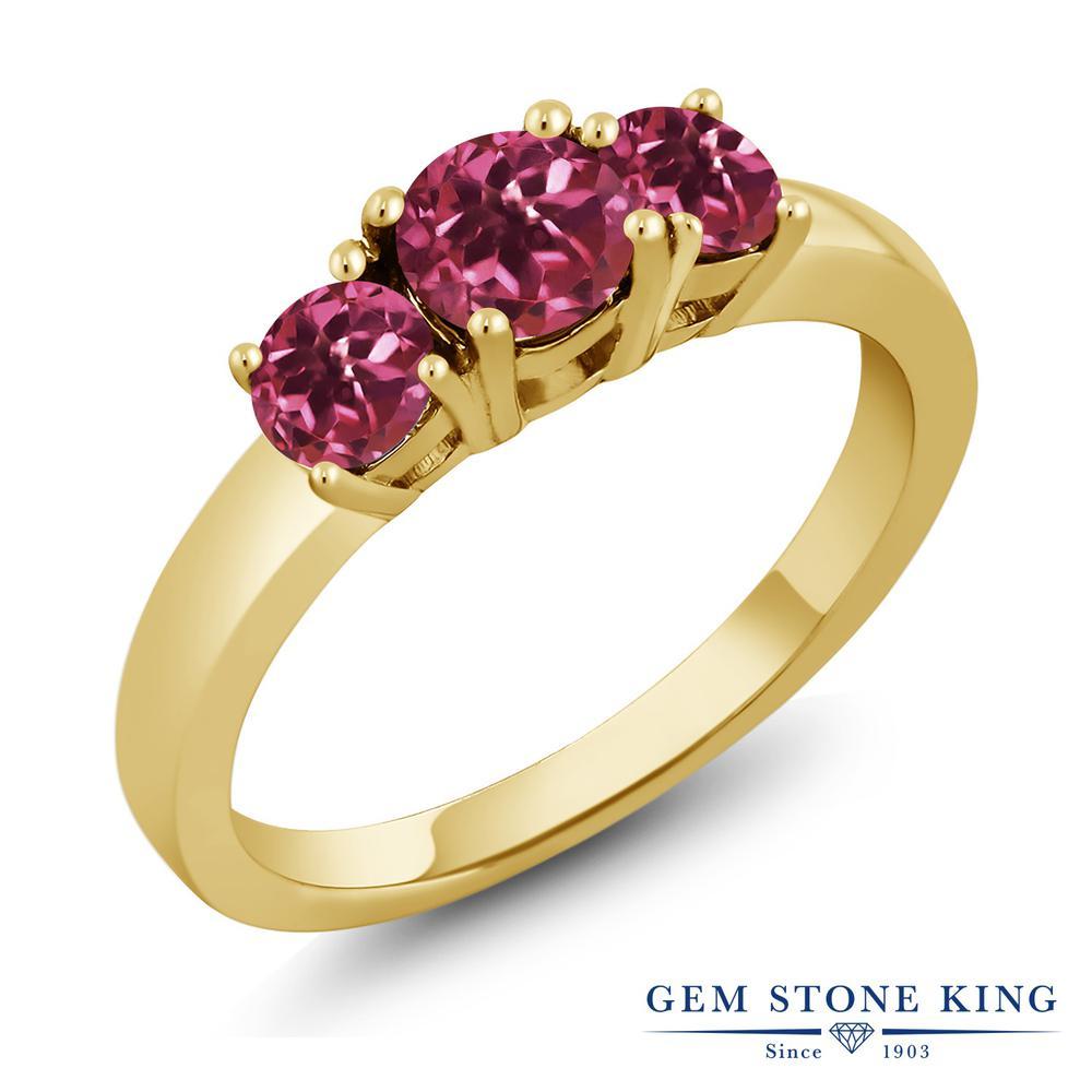 1カラット 天然 ピンクトルマリン 指輪 リング レディース シルバー925 イエローゴールド 加工 小粒 シンプル スリーストーン 天然石 10月 誕生石 プレゼント 女性 彼女 妻 誕生日