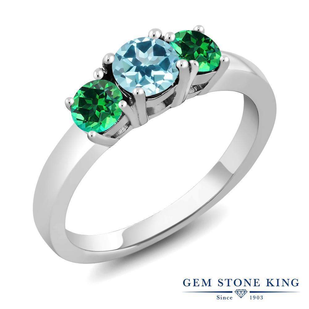 Gem Stone King 1.22カラット 天然石トパーズ アイスブルー(スワロフスキー 天然石シリーズ) 天然石トパーズ レインフォレスト(スワロフスキー 天然石シリーズ) シルバー925 指輪 リング レディース スリーストーン シンプル 天然石 金属アレルギー対応 誕生日プレゼント