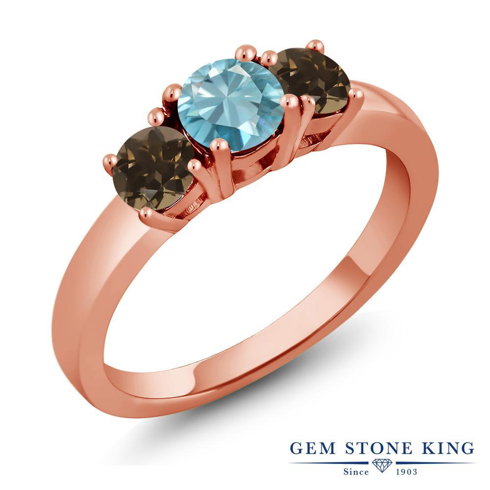 1.37カラット 天然石 ブルージルコン 指輪 レディース リング 天然 スモーキークォーツ (ブラウン) ピンクゴールド 加工 シルバー925 ブランド おしゃれ 3連 青 シンプル スリーストーン 12月 誕生石 金属アレルギー対応