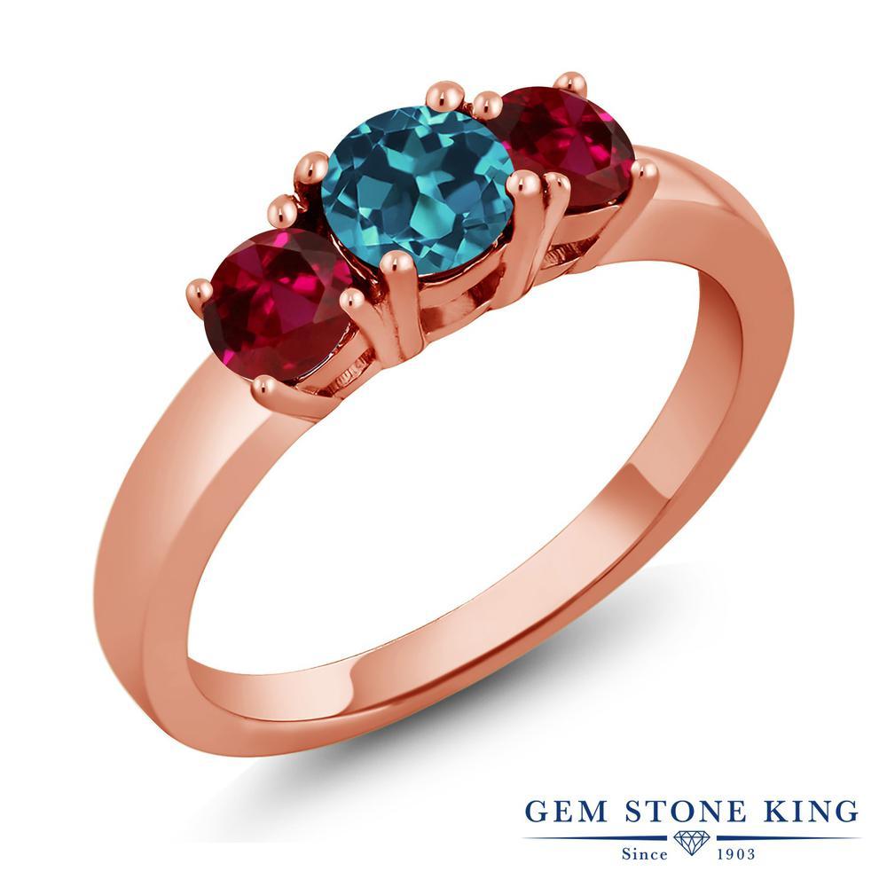 1.2カラット 天然 ロンドンブルートパーズ 指輪 レディース リング 合成ルビー ピンクゴールド 加工 シルバー925 ブランド おしゃれ 3連 シンプル スリーストーン 天然石 11月 誕生石 金属アレルギー対応
