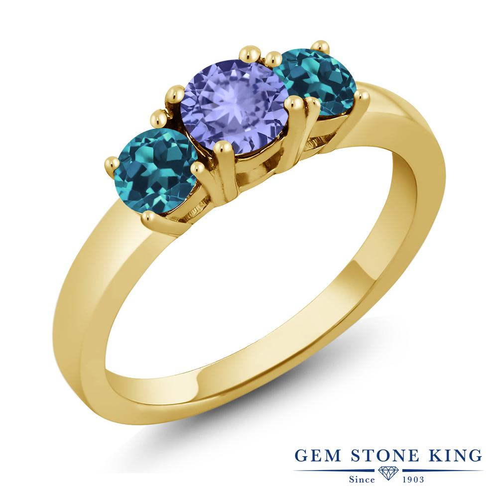 Gem Stone King 1.12カラット 天然石 タンザナイト 天然 ロンドンブルートパーズ 指輪 リング レディース シルバー925 イエローゴールド 加工 小粒 シンプル スリーストーン 12月 誕生石 金属アレルギー対応