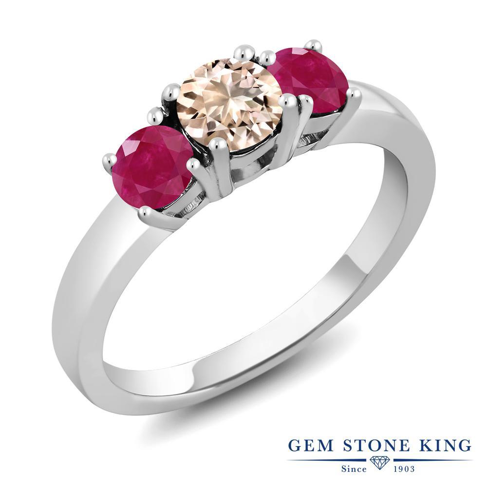 Gem Stone King 1.1カラット 天然 モルガナイト (ピーチ) 天然 ルビー シルバー925 指輪 リング レディース 小粒 シンプル スリーストーン 天然石 3月 誕生石 金属アレルギー対応 誕生日プレゼント
