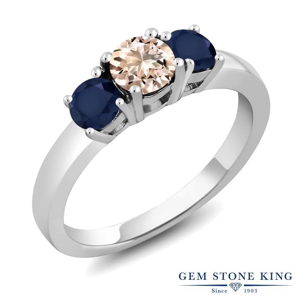 Gem Stone King 1.1カラット 天然 モルガナイト (ピーチ) 天然 サファイア シルバー925 指輪 リング レディース 小粒 シンプル スリーストーン 天然石 3月 誕生石 金属アレルギー対応 誕生日プレゼント