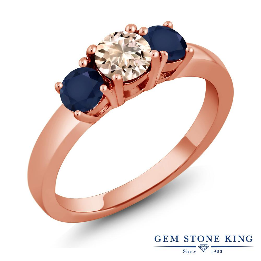 Gem Stone King 1.1カラット 天然 モルガナイト (ピーチ) 天然 サファイア シルバー925 ピンクゴールドコーティング 指輪 リング レディース 小粒 シンプル スリーストーン 天然石 3月 誕生石 金属アレルギー対応 誕生日プレゼント