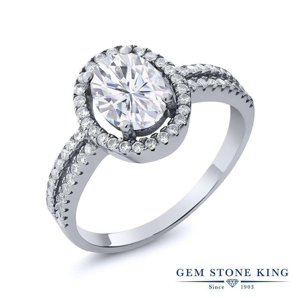 Gem Stone King 2.26カラット Forever Brilliant モアッサナイト Charles & Colvard シルバー925 指輪 リング レディース 大粒 誕生日プレゼント