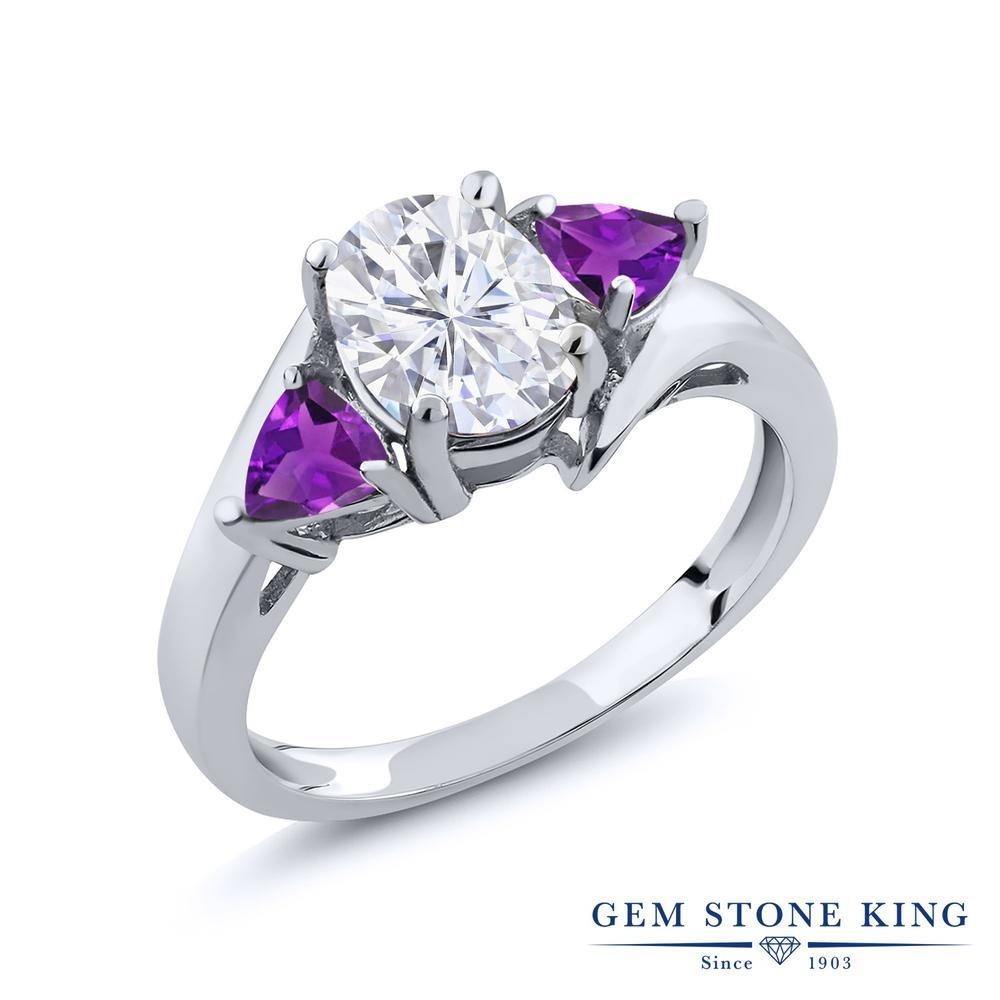 Gem Stone King 1.92カラット Forever Brilliant モアサナイト Charles & Colvard 天然 アメジスト シルバー925 指輪 リング レディース モアッサナイト 大粒 シンプル スリーストーン 金属アレルギー対応 誕生日プレゼント