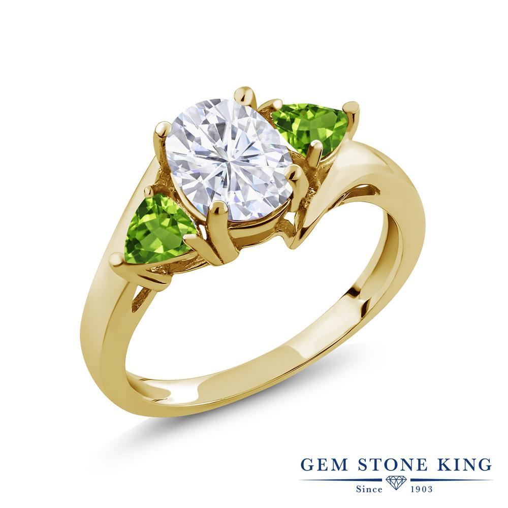 Gem Stone King 2.02カラット Forever Brilliant モアサナイト Charles & Colvard 天然石 ペリドット シルバー925 イエローゴールドコーティング 指輪 リング レディース モアッサナイト 大粒 シンプル スリーストーン 金属アレルギー対応 誕生日プレゼント