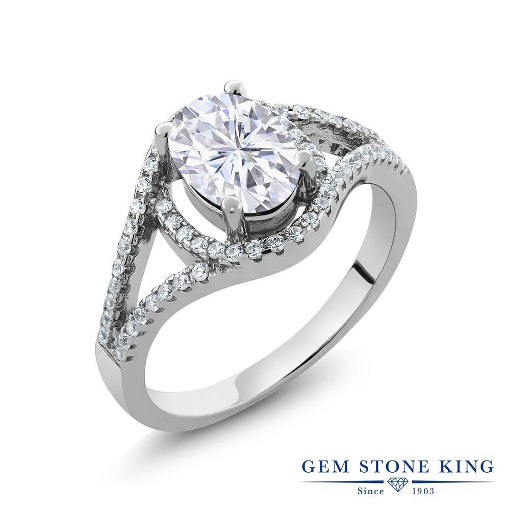 Gem Stone King 2.21カラット Forever Brilliant モアッサナイト Charles & Colvard シルバー925 指輪 リング レディース 大粒 誕生日プレゼント