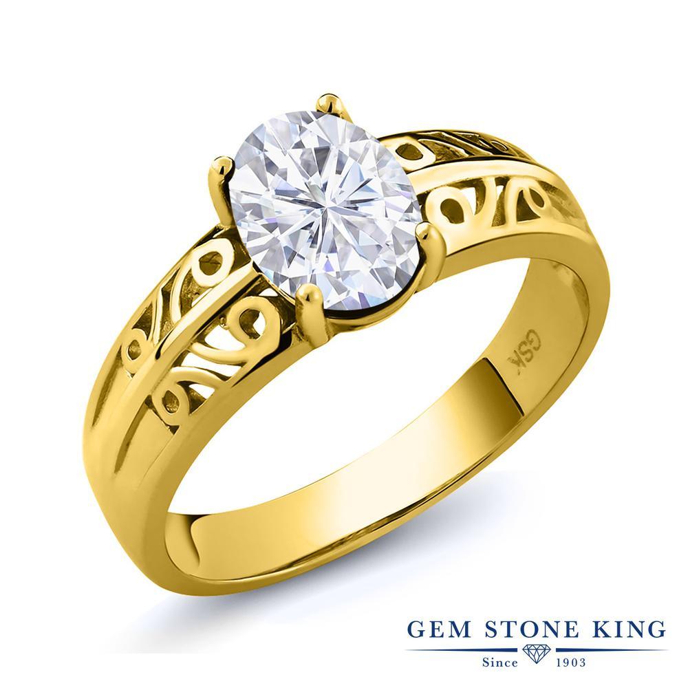 Gem Stone King 1.5カラット Forever Brilliant モアッサナイト Charles & Colvard シルバー 925 イエローゴールドコーティング 指輪 リング レディース 大粒 一粒 シンプル 誕生日プレゼント