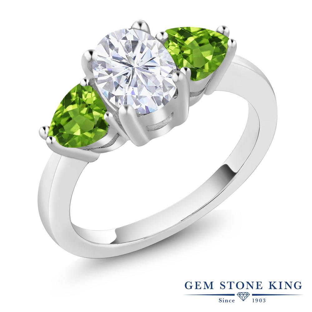 Gem Stone King 2.46カラット Forever Brilliant モアッサナイト Charles & Colvard 天然石 ペリドット シルバー925 指輪 リング レディース モアサナイト 大粒 シンプル スリーストーン 金属アレルギー対応 誕生日プレゼント
