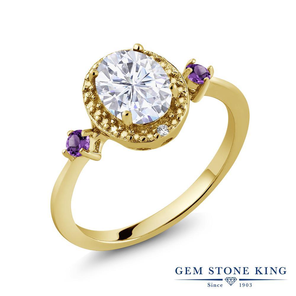 Gem Stone King 1.63カラット Forever Brilliant モアサナイト Charles & Colvard 天然 アメジスト 天然 ダイヤモンド シルバー925 イエローゴールドコーティング 指輪 リング レディース モアッサナイト 大粒 金属アレルギー対応 誕生日プレゼント