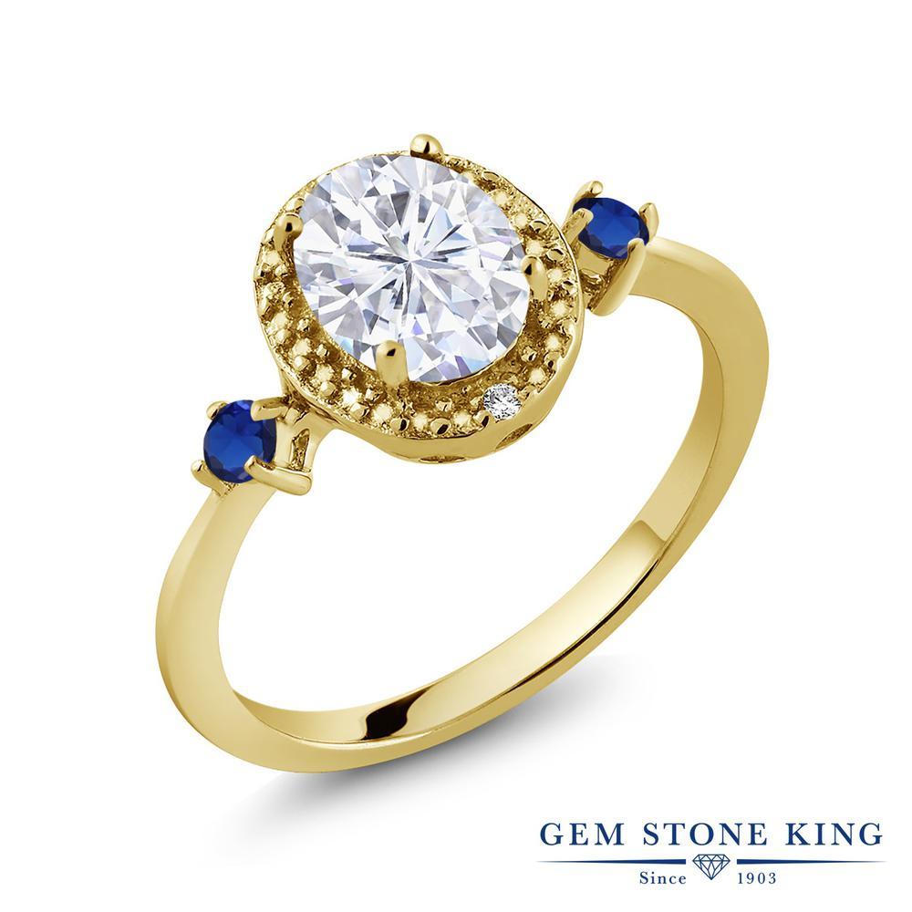 【10%OFF】 Gem Stone King 1.61カラット Forever Brilliant モアサナイト Charles & Colvard 天然 ダイヤモンド 指輪 リング レディース シルバー925 イエローゴールド 加工 モアッサナイト 大粒 クリスマスプレゼント 女性 彼女 妻 誕生日