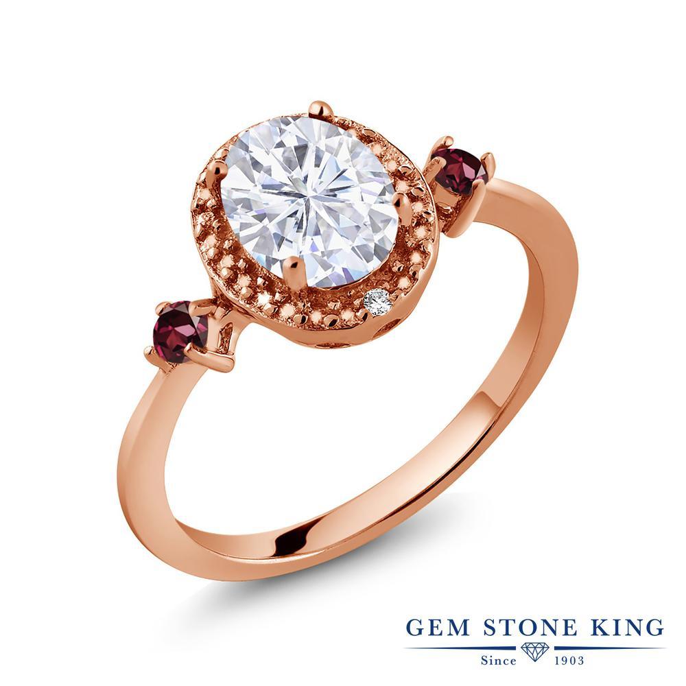 Gem Stone King 1.69カラット Forever Brilliant モアッサナイト Charles & Colvard 天然ロードライトガーネット 天然ダイヤモンド シルバー 925 ローズゴールドコーティング 天然ダイヤモンド 指輪 リング レディース 大粒 誕生日プレゼント