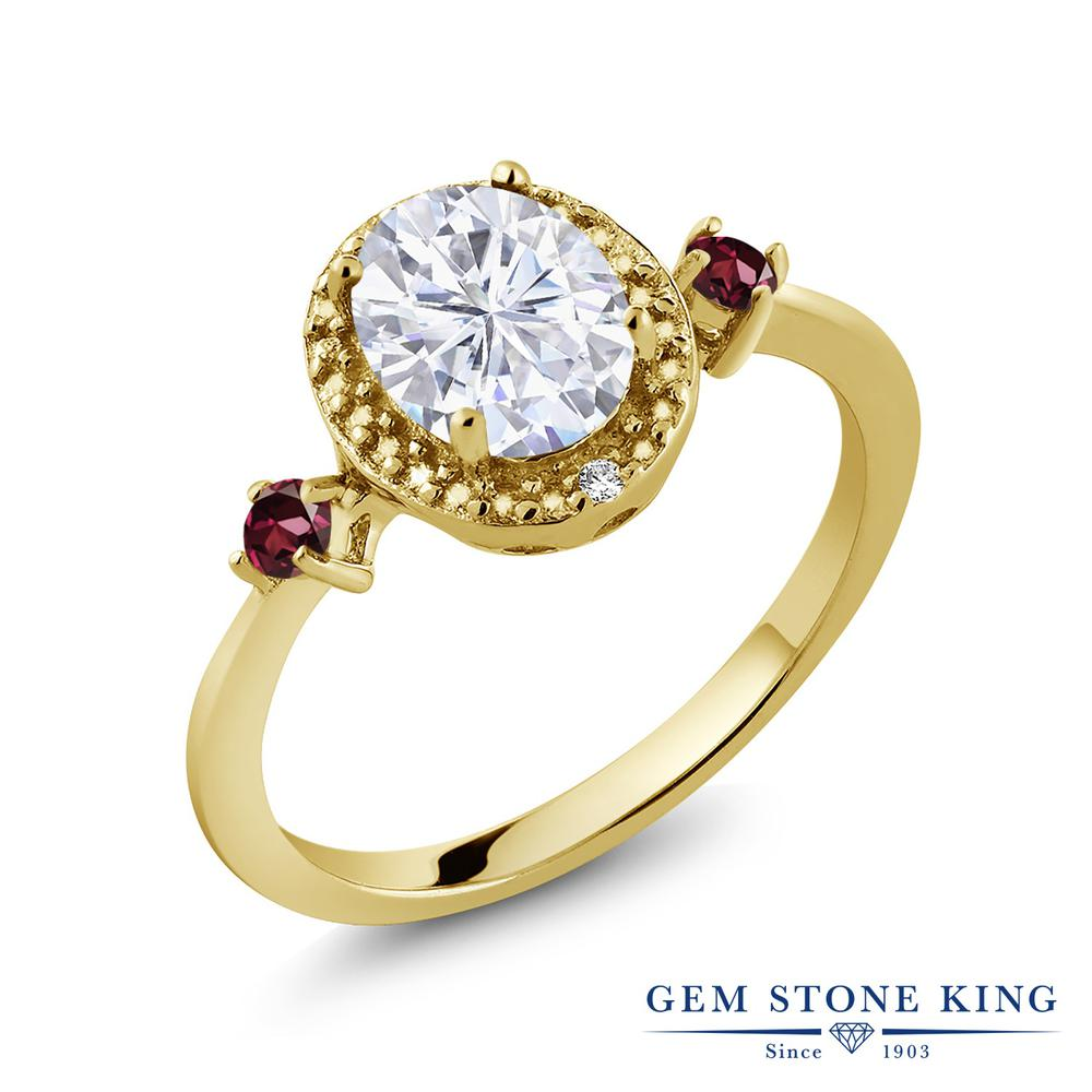 Gem Stone King 1.69カラット Forever Brilliant モアッサナイト Charles & Colvard 天然ロードライトガーネット 天然ダイヤモンド シルバー 925 イエローゴールドコーティング 天然ダイヤモンド 指輪 リング レディース 大粒 誕生日プレゼント