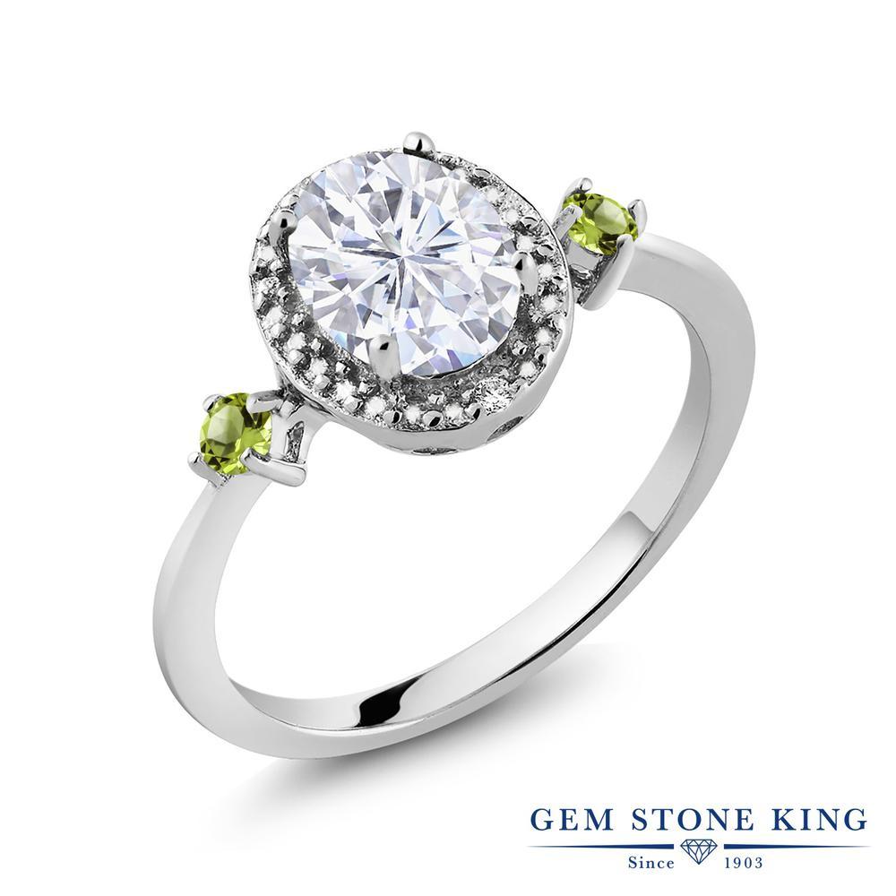 Gem Stone King 1.65カラット Forever Brilliant モアッサナイト Charles & Colvard 天然石ペリドット 天然ダイヤモンド シルバー925 天然ダイヤモンド 指輪 リング レディース 大粒 誕生日プレゼント