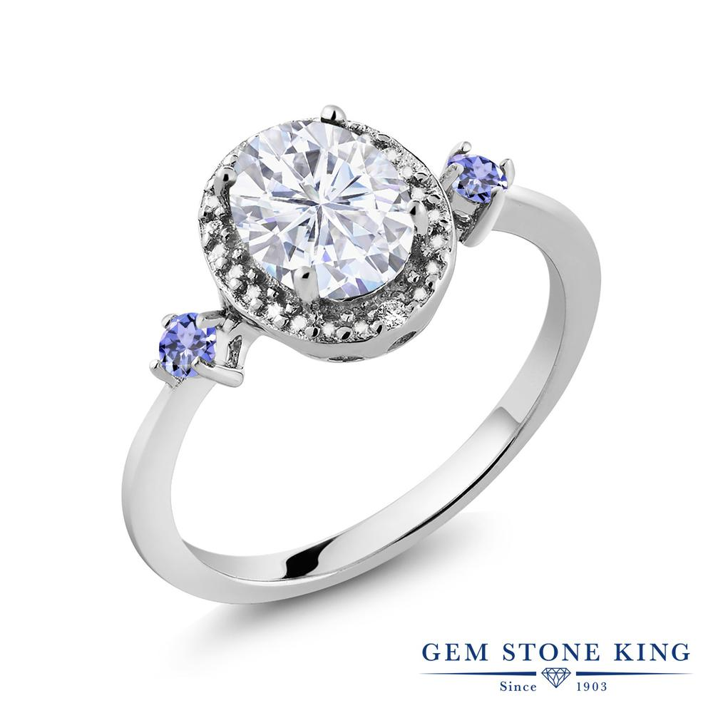 Gem Stone King 1.67カラット Forever Brilliant モアッサナイト Charles & Colvard 天然石 タンザナイト 天然ダイヤモンド シルバー925 天然ダイヤモンド 指輪 リング レディース 大粒 誕生日プレゼント