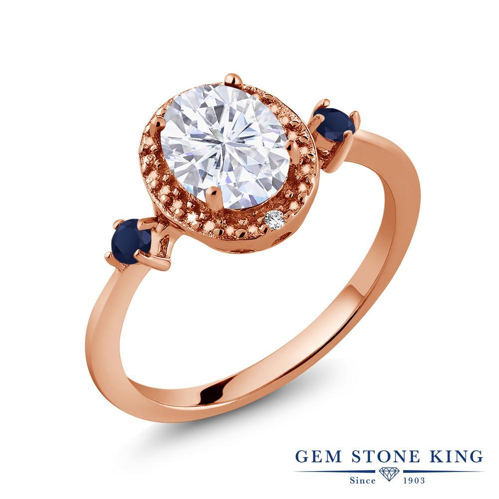Gem Stone King 1.61カラット Forever Brilliant モアッサナイト Charles & Colvard 天然サファイア 天然ダイヤモンド シルバー 925 ローズゴールドコーティング 天然ダイヤモンド 指輪 リング レディース 大粒 誕生日プレゼント