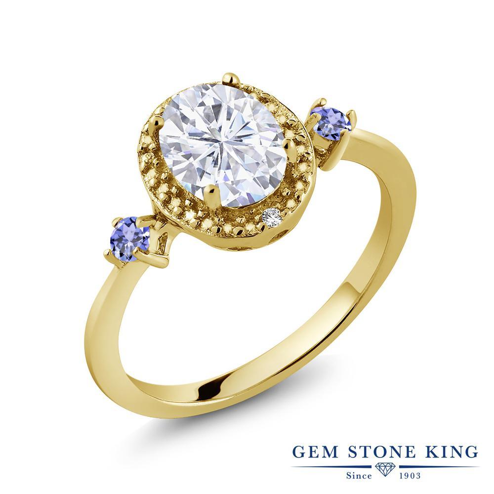 Gem Stone King 1.67カラット Forever Brilliant モアサナイト Charles & Colvard 天然石 タンザナイト 天然 ダイヤモンド シルバー925 イエローゴールドコーティング 指輪 リング レディース モアッサナイト 大粒 金属アレルギー対応 誕生日プレゼント