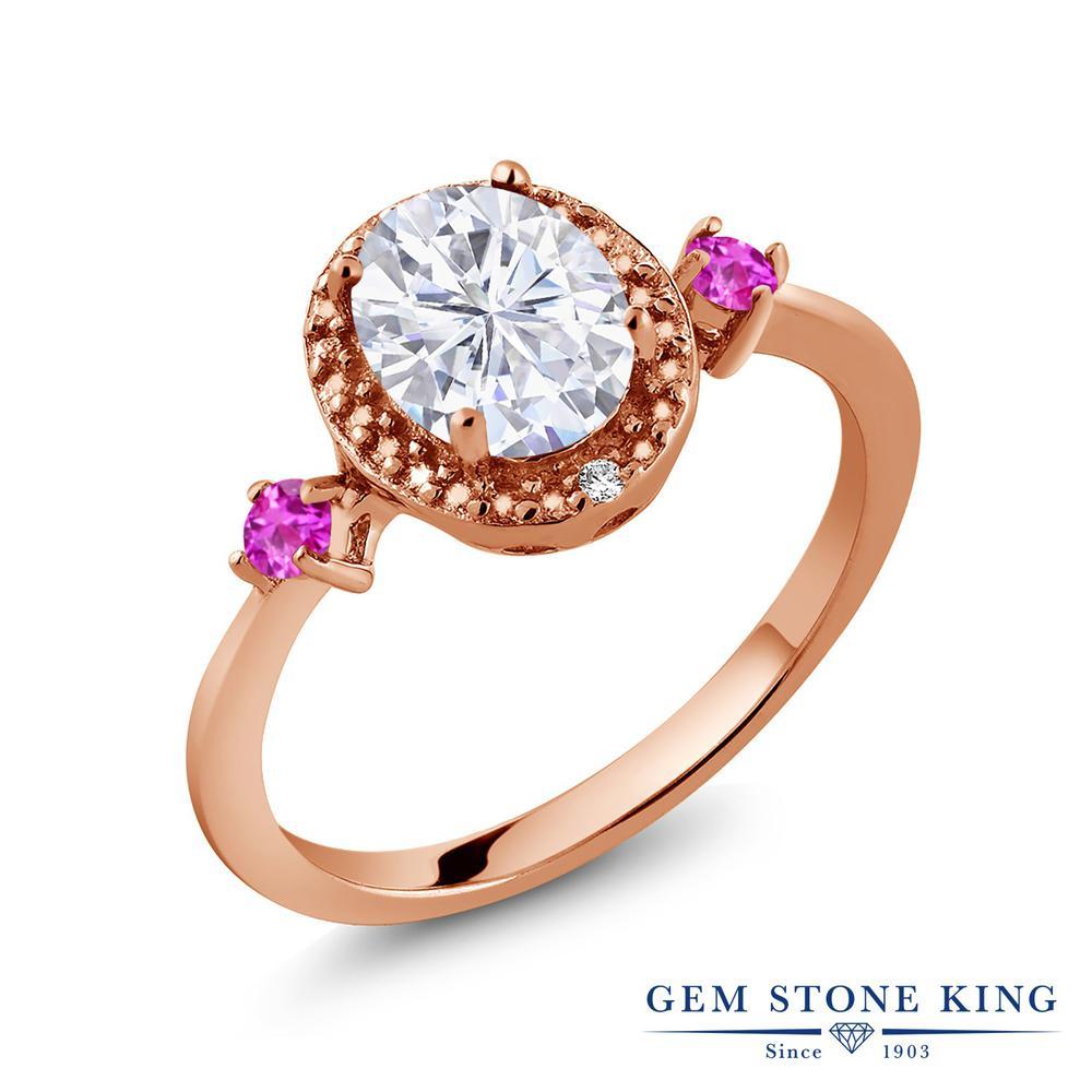 Gem Stone King 1.61カラット Forever Brilliant モアッサナイト Charles & Colvard サファイア(ピンク) 天然ダイヤモンド シルバー 925 ローズゴールドコーティング 天然ダイヤモンド 指輪 リング レディース 大粒 誕生日プレゼント