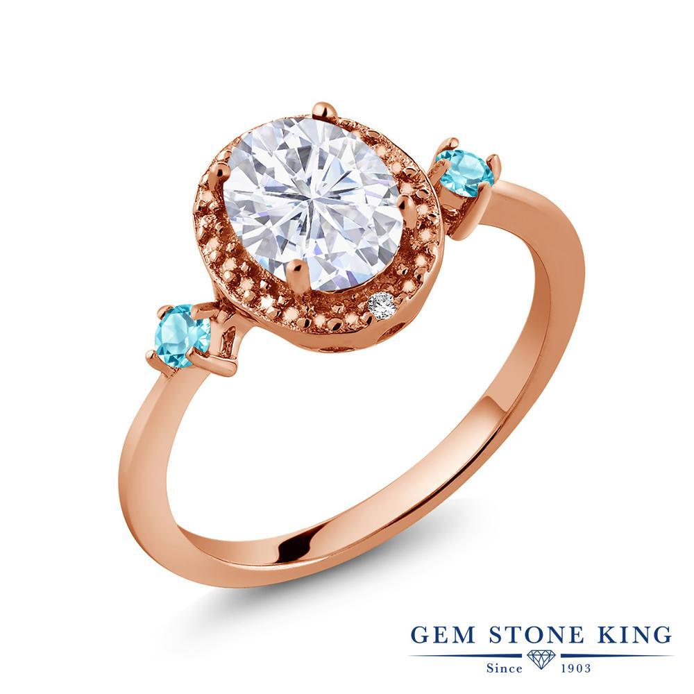 Gem Stone King 1.67カラット Forever Brilliant モアッサナイト Charles & Colvard シミュレイテッドトパーズ(スカイブルー) 天然ダイヤモンド シルバー 925 ローズゴールドコーティング 天然ダイヤモンド 指輪 リング レディース 大粒 誕生日プレゼント
