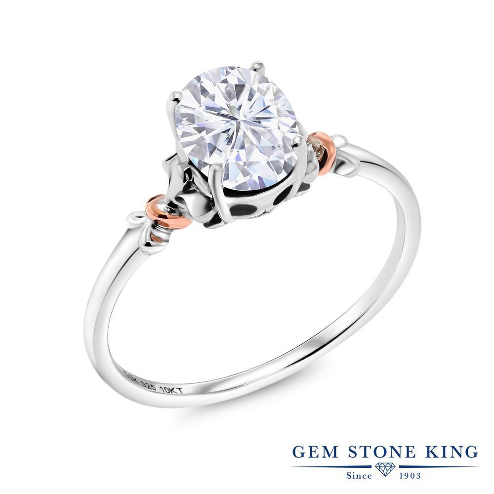 Gem Stone King 0.9カラット Forever Brilliant モアサナイト Charles & Colvard シルバー925 指輪 リング レディース モアッサナイト 一粒 シンプル ソリティア 金属アレルギー対応 誕生日プレゼント